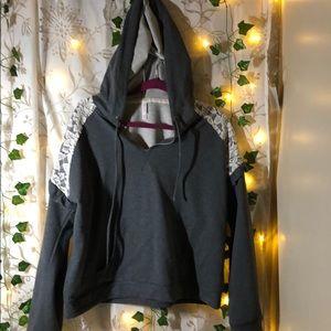 Lace Gray Crop Sweatshirt